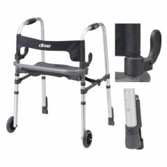 Drive Medical - 10233 - Clever Lite LS Walker Rollator with Seat and Push Down Brakes